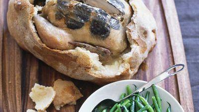 """Recipe:&nbsp;<a href=""""http://kitchen.nine.com.au/2016/05/17/15/01/saltbaked-truffled-chicken-with-warm-green-bean-and-truffle-salad"""" target=""""_top"""">Salt-baked truffled chicken with warm green bean and truffle salad</a>"""