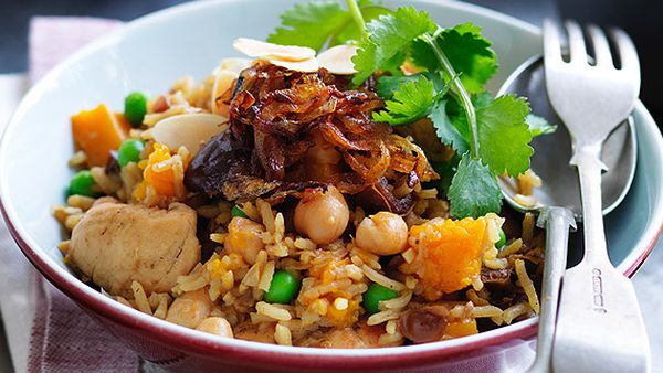 Moroccan chickpea and basmati rice chicken pilaf