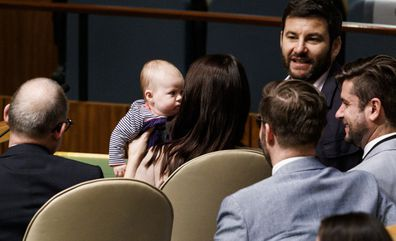 New mum Jacinda Arden appeared at the UN with her partner Clarke Gayford and their daughter Neve