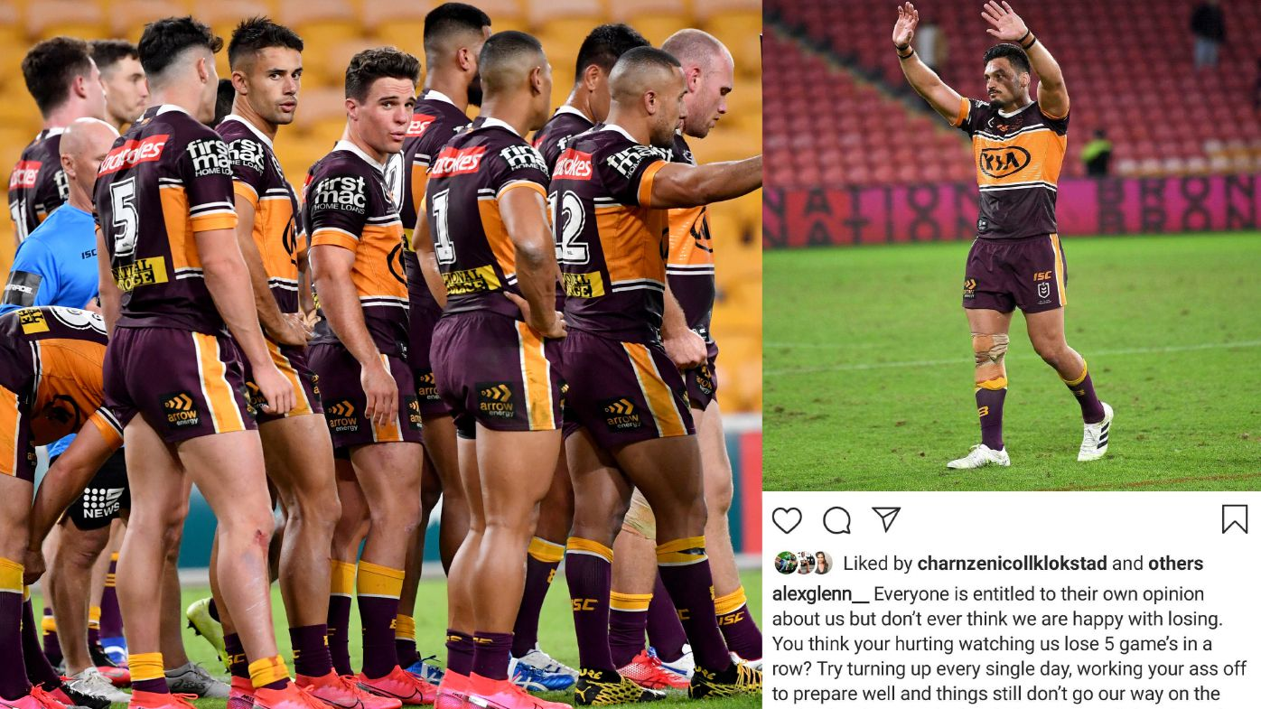 The under-fire Broncos (left) and captain Alex Glenn's Instagram post (right).