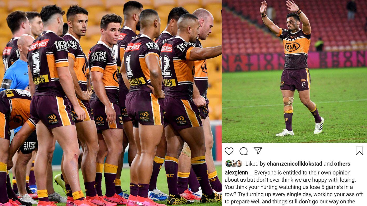 The under-fire Broncos (left) and captain Alex Glenn's Instagram post (right).