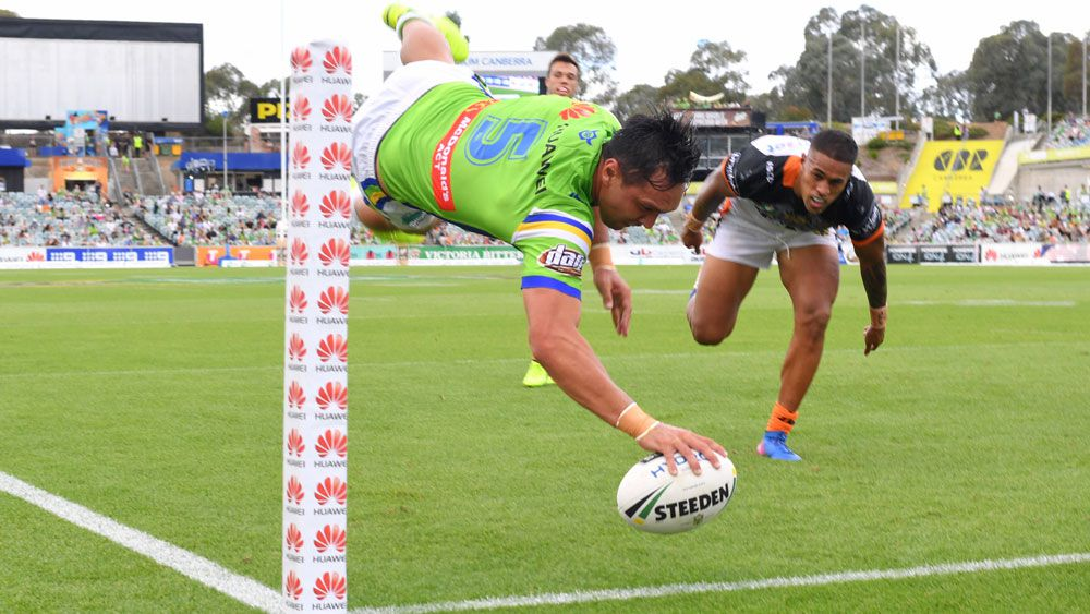Canberra Raiders run riot over Wests Tigers to score first win of season