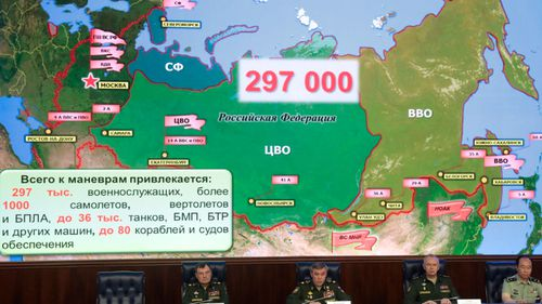 Russian defence chiefs explain the Vostok 2018 war games at a media conference.
