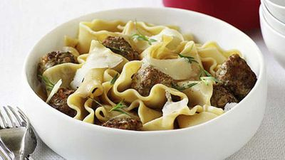 "Recipe: <a href=""http://kitchen.nine.com.au/2016/05/17/15/12/duck-meatballs-with-lasagnette"" target=""_top"">Duck meatballs with lasagne</a>"