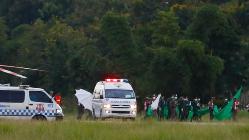 An ambulance waits to pick up the trapped boys. Picture: AAP