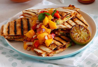 Chicken quesadilla with mango salsa