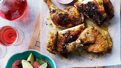 "Recipe: <a href=""http://kitchen.nine.com.au/2016/05/16/14/43/spicerubbed-chicken-with-pink-grapefruit-and-beetroot-salad"" target=""_top"">Spice-rubbed chicken with pink grapefruit and beetroot salad</a>"