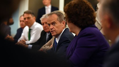 Opposition Leader Bill Shorten at a Shadow Cabinet meeting this morning (Image: AAP)