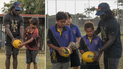 He got involved with a sports program at Hope Vale Campus when he visited Cape York this week. (Supplied)