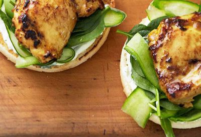 "<a href=""http://kitchen.nine.com.au/2016/05/05/11/20/satay-chicken-burgers"" target=""_top"">Satay chicken burgers</a><br /> <br /> <a href=""http://kitchen.nine.com.au/2016/11/30/17/12/15-chicken-thigh-recipes-that-are-juicy-and-magnificent "" target=""_top"">More chicken thigh recipes</a>"