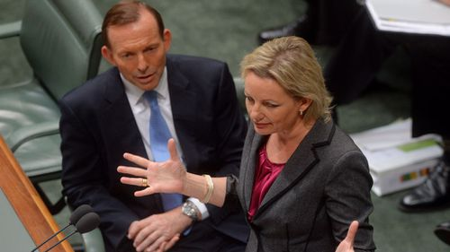 Prime Minister Tony Abbott with Sussan Ley during House of Representatives question time. (AAP)