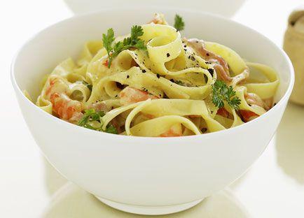 Prawn, lemon cream and prosciutto tagliatelle