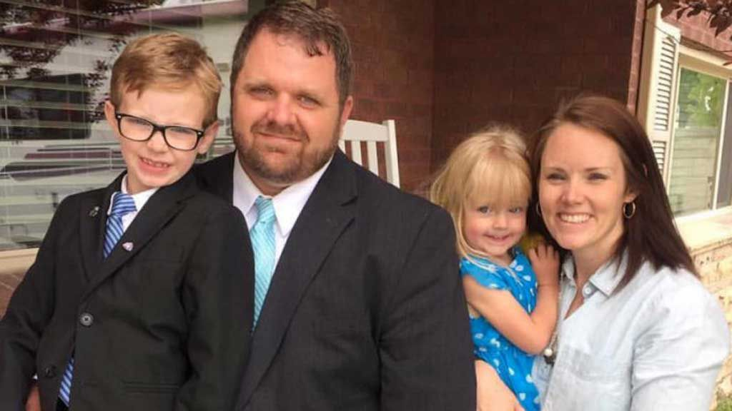 Randall and Kristin Wells and their children Asher and Sarah.