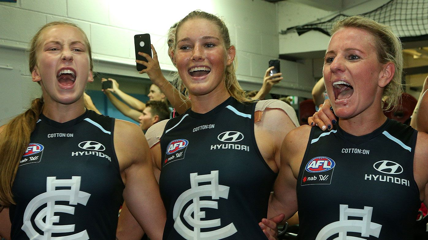 Tayla Harris shrugs off drama-filled week as Carlton advances to AFLW Grand Final