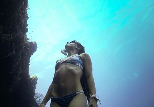 The water-loving woman has made a splash in the free-diving world. Picture: @johnnydeep110