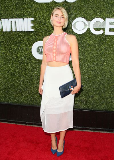 """Lucy Fry in <em><a href=""""https://www.lkbennett.com/"""" target=""""_blank"""">L.K Bennett</a></em> at the CBS Showtime Summer Party in Hollywood in August, 2016"""