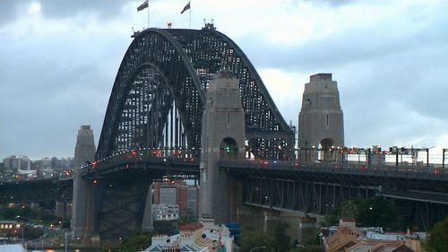 Police were forced to close four lanes of the Sydney Harbour Bridge during the morning peak. (9NEWS)
