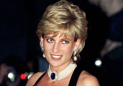 Princess Diana wearing black evening gown