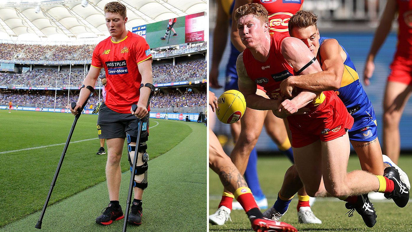 Matt Rowell on crutches after suffering knee injury in opening quarter of 2021 season