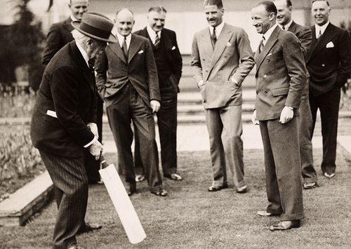 The founder of Selfridges department store, Mr HG Selfridge batting with members of the Australia cricket team, including Don Bradman (3rd from right) in London, 1934.   (Popperfoto, Getty Images)