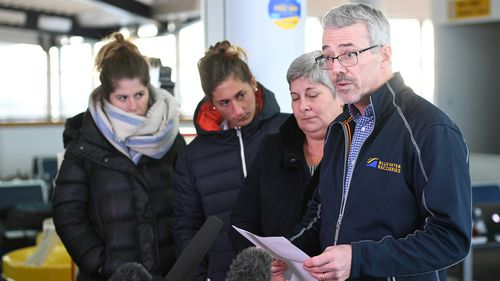 Emiliano Sala's family with marine scientist David Mearns, who is leading the search.