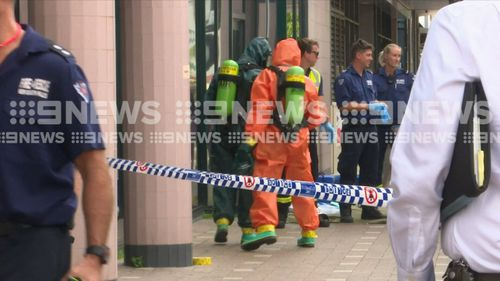 Specialist HAZMAT teams wearing spill suits investigated the package.