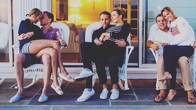 <p>The singer's rumoured boyfriend, Tom Hiddleston, was also at the three-day event and made an appearance in a photo with Swift, alongside Blake Lively and Ryan Reynolds, and newlyweds Britany LaManna and Ben LaManna. Swift was maid of honour at their wedding in February. (Instagram: @brittmaack)</p>