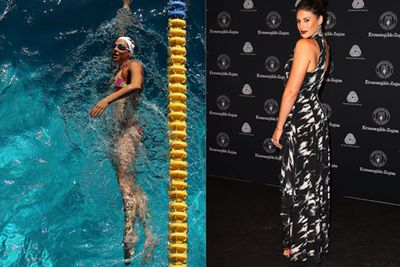 Both in and out of the pool, Stephanie works some seriously toned curves to her advantage.