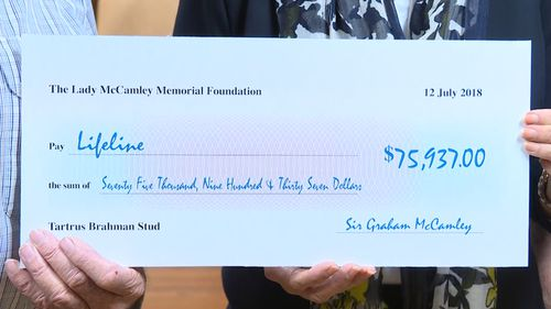 Lifeline was today handed a cheque for nearly $76,000. Picture: 9NEWS
