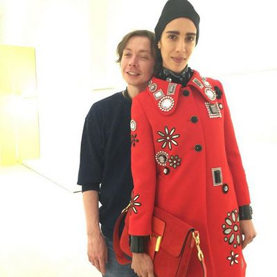 <p>Marc Jacobs' design director, Joseph Carter with model Jamie Bochert.</p>