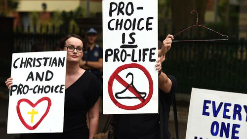 Abortion pro-choice supporters rally outside the Queensland Parliament in Brisbane in 2016.