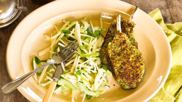 Fennel crusted pork cutlet with a crunchy apple and celery salad