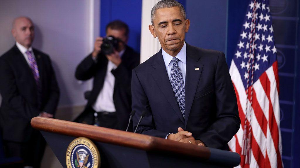Barack Obama making speech at the White House