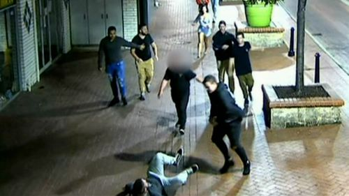Alexander Warrell was with a group of men who set upon the couple in Smart Street Mall in Mandurah.