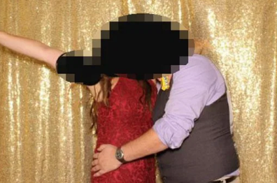 The couple were in hot water after the photo was shared by the wedding DJ.