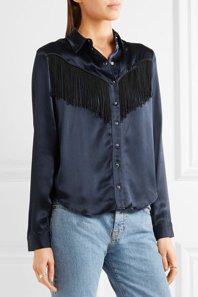 "Ganni fringed satin shirt, $399 at <a href=""https://www.net-a-porter.com/au/en/product/840220?cm_mmc=GoogleProductSearchPLA-_-AU-_-Tops-Clothing-GANNI-Google&cm_mmc=GoogleAU--c-_-Net-a-Porter-AUPLA-_-AUS+-+GS+-+Designers+-+Low--Core+Designers-_-__aud-187931171842:pla-47497758324_APAC&gclid=Cj0KEQiAot_FBRCqt8jVsoDKoZABEiQAqFL76O9D1NLakAeLpE0M0HoWNeKpWogjeHo23665wqIP16EaAkyw8P8HAQ"" target=""_blank"">Net-a-porter<br /> </a>"