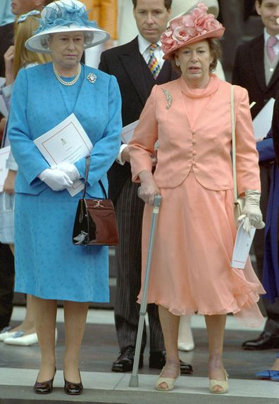 Queen Elizabeth (left) & Princess Margaret (right) at National Service of Thanksgiving for Queen Mother's 100th birthday at St. Paul's Cathedral (Photo: 11 July, 2000)