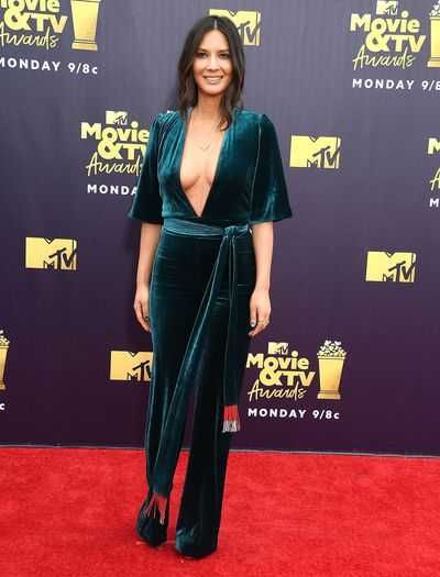Actress Olivia Munn in Galvan London at the 2018 MTV Movie and TV Awards