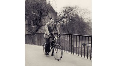 Prince Charles cycling at Cambridge, 1969