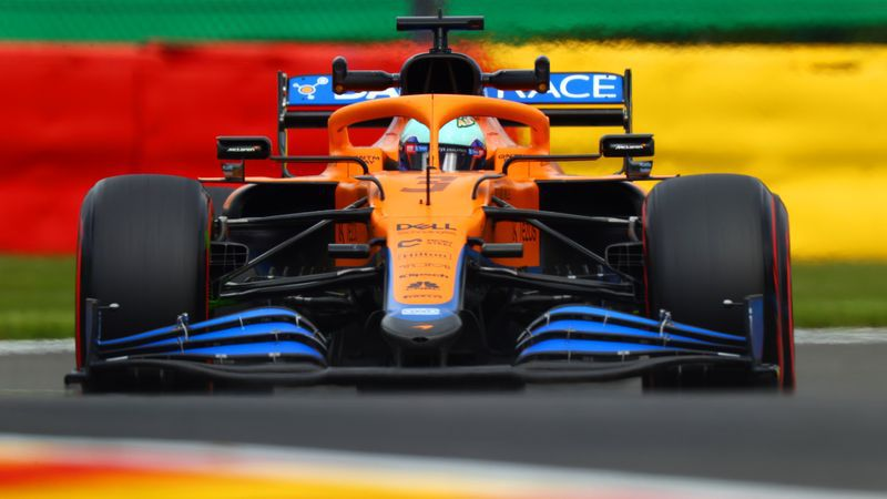 Australian Formula 1 driver Daniel Ricciardo driving his McLaren during practice for the Belgian Grand Prix.