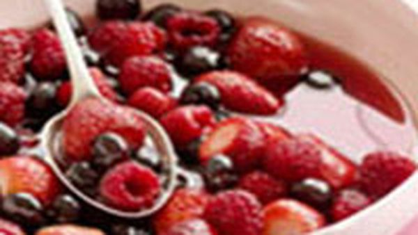 Berries in cranberry and orange syrup
