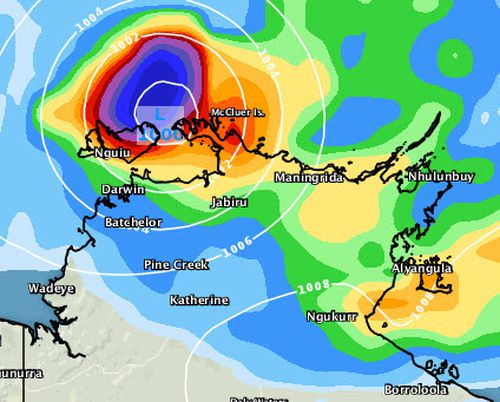 Tropical Cyclone Marcus is expected to cause wild weather as it moves towards the Northern Territory capital, Darwin, as seen in this forecast for 5am Saturday. Picture: Weatherzone