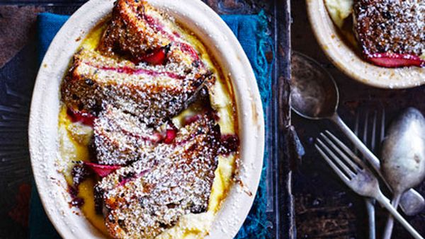 Rhubarb and ricotta bread and butter pudding