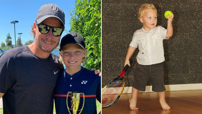 Lleyton Hewitt and son Cruz Hewitt.