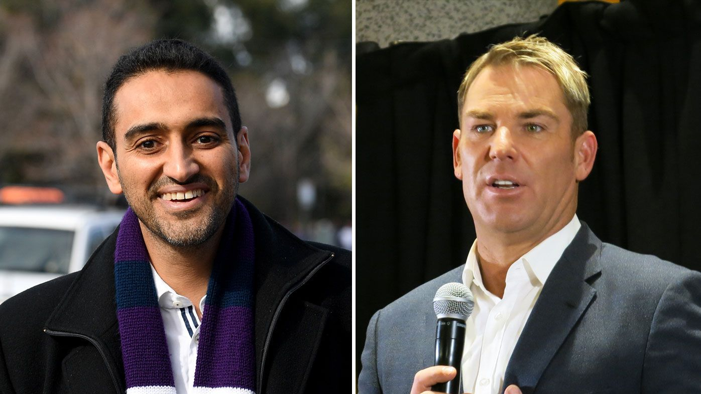 Waleed Aly (left) and Shane Warne