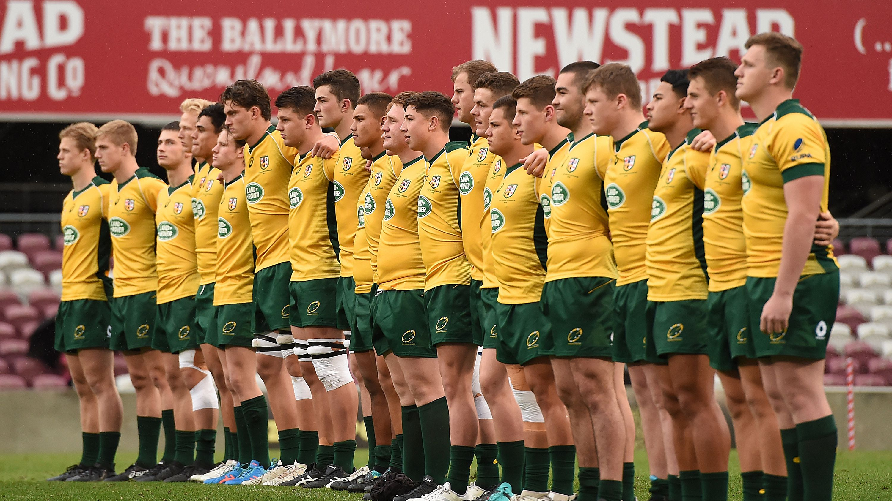 Australian Schools players line up ready to play at Ballymore.