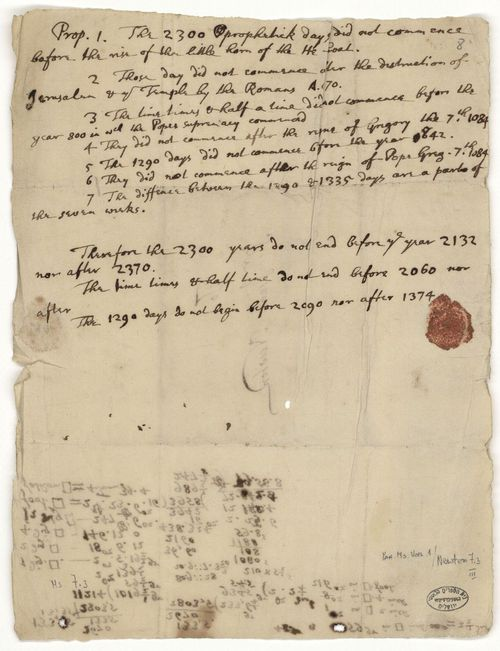 One of three-century-old manuscripts by Isaac Newton calculating the exact date of the apocalypse