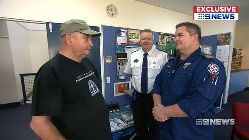 Today, Bill met the paramedic who came to his attention for the first time since surviving the heart attack. Picture: 9NEWS.
