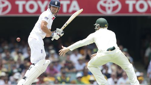 England captain Alastair Cook plays a shot during the second innings on day four of the first Ashes Test between Australia and England at the Gabba in Brisbane, Sunday, Nov. 24, 2013. (AAP Image/Dave Hunt)