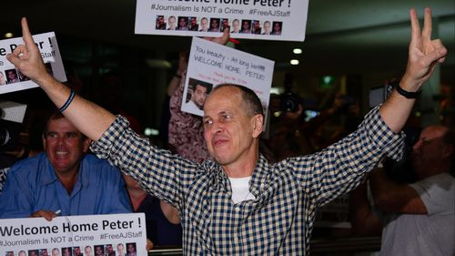 Greste on his arrival home in February. (9NEWS)